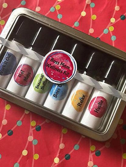 BOSS MOM  Labels ~ Tin Box w/ 6 each 10 ml Clear Roller Bottles
