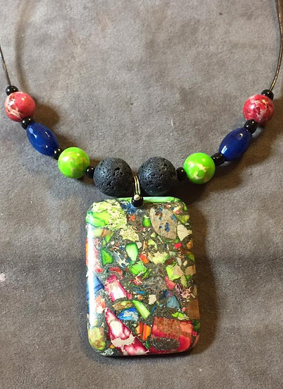Rectangular Rainbow Sea Sediment Jasper  and Lava Stone Pendant
