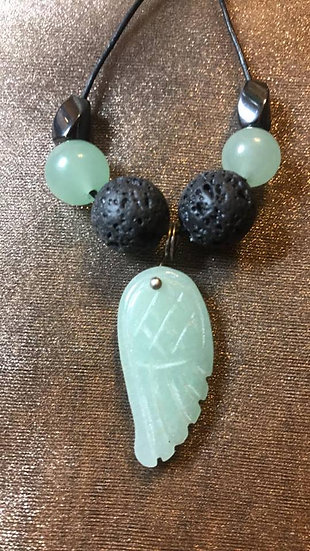 Green Aventurine Angel Wing Pendant and lava Bead Diffuser Necklace