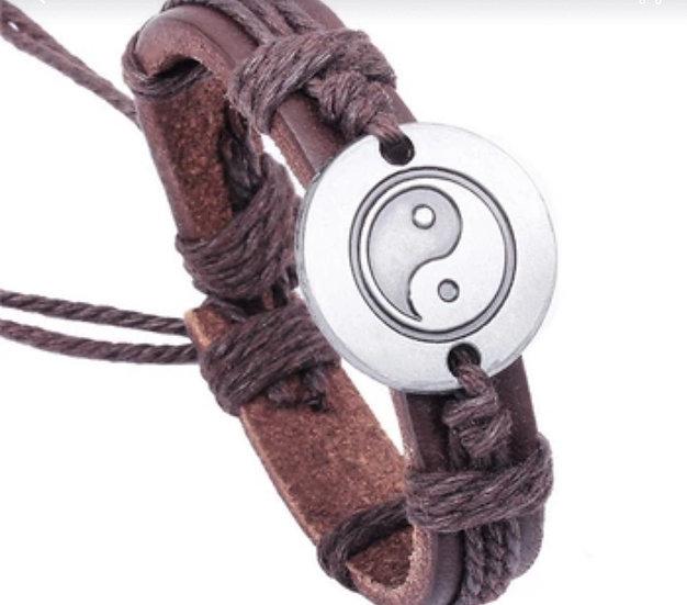 YIN YANG  multi strand dk brown leather bracelet