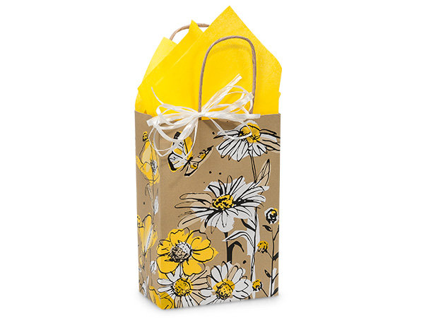 10 count Recycled Paper - USA Made - Yellow Daisy Shopper Bag - SMALL - F/S