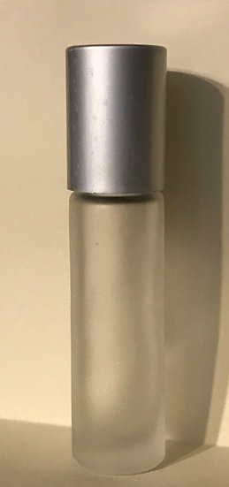 Frosted Clear 10 ml Roller Bottle w/ Silver Lid