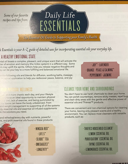 DAILY LIFE ESSENTIALS ~ Essential Oils ~  Tear Sheet 2 Sided