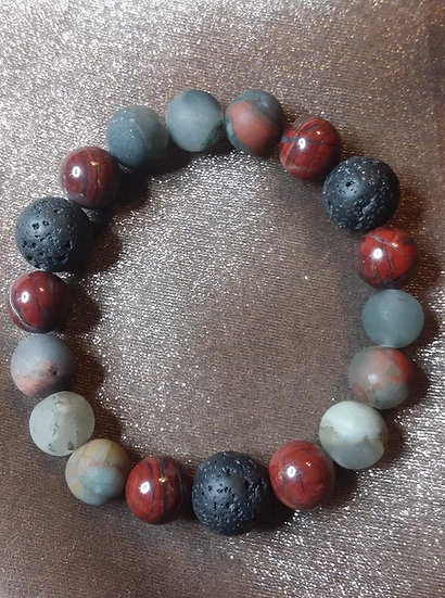 Bloodstone and Lava stone Beads Bracelet
