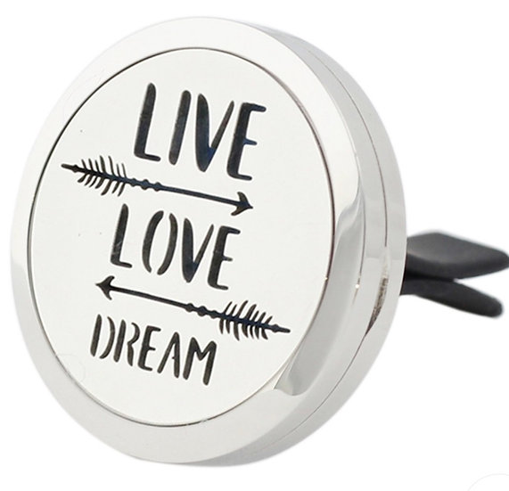 LIVE LOVE DREAM ~  Stainless Steel Car Vent Diffuser (30 mm)