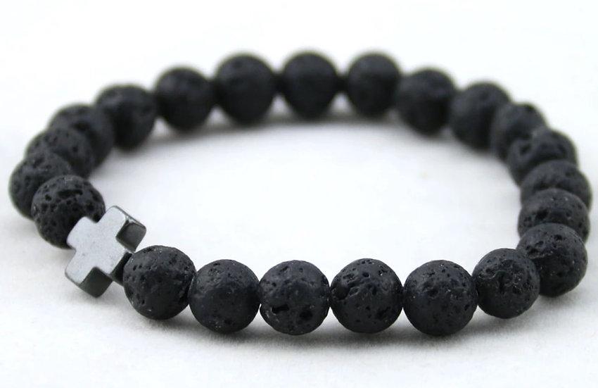 Lava Stone Bracelet w/ Block Cross