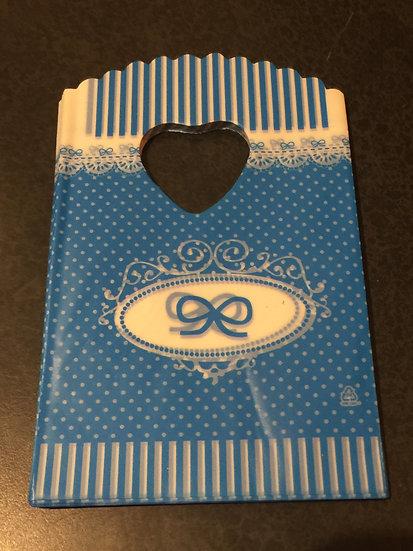 50 ct Mini BLUE MINI DOT W/ BOW Poly Bags  --  3-1/2 X 5-1/2