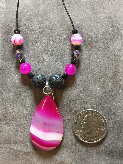 Candy Stripe Onyx Agate -Lava Bead Pendant