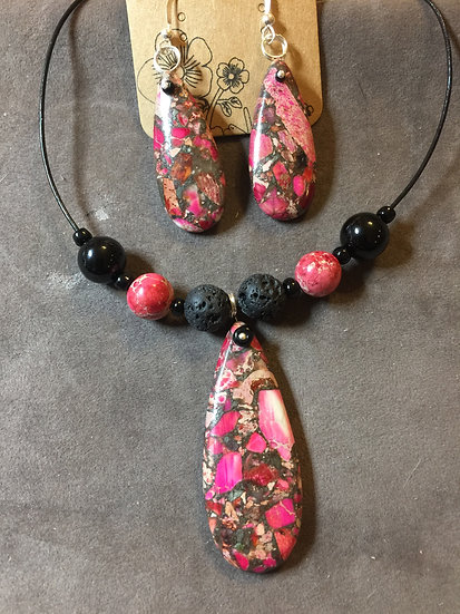 Red Sea Sediment Jasper & Lava Stone Necklace
