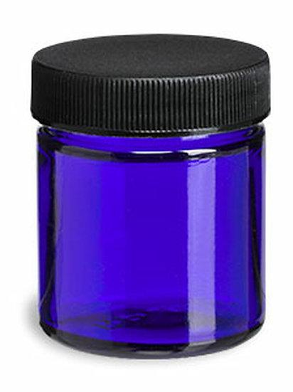 1 oz Cobalt Blue Glass Multi Purpose Jar with Black Lid