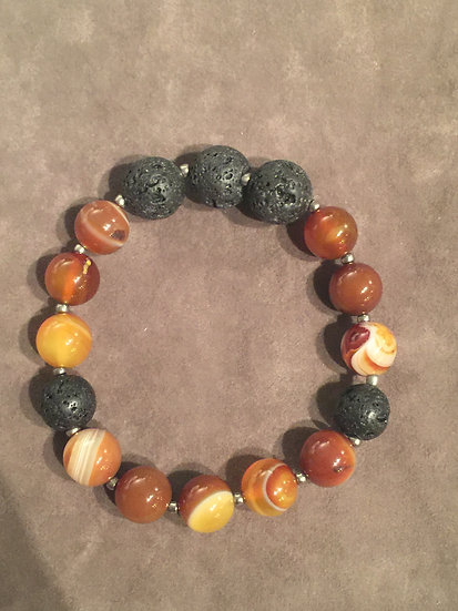 Brazilian Brown Agate - Lava Brad Stretch bracelet