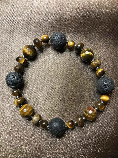 Tiger Eye & Lava Stone Stretch Bracelet