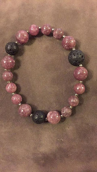 Pink Tourmaline and Lava Stone stretch Bracelet