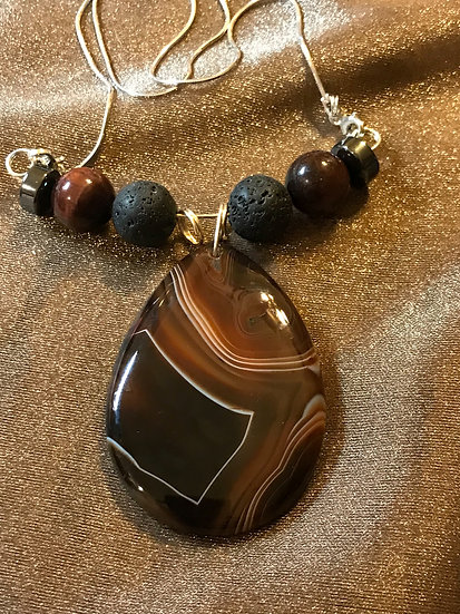Botswana Agate w/ diffuser beads and sterling silver