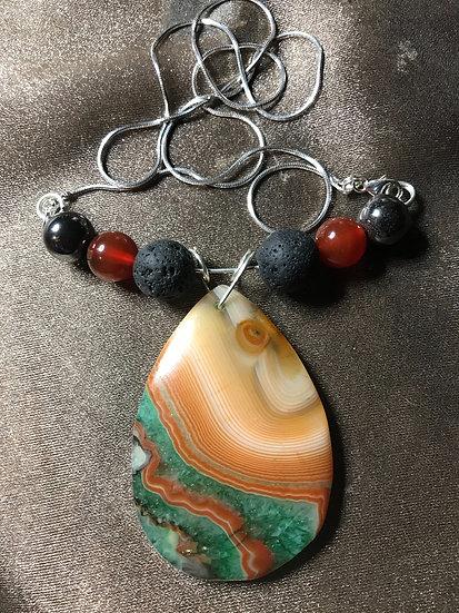 Agate Pendant w/ Lava Stone Diffuser Beads