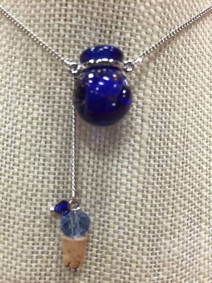 """Cobalt """"Dust"""" Ball Murano Glass Necklace #BDB3"""
