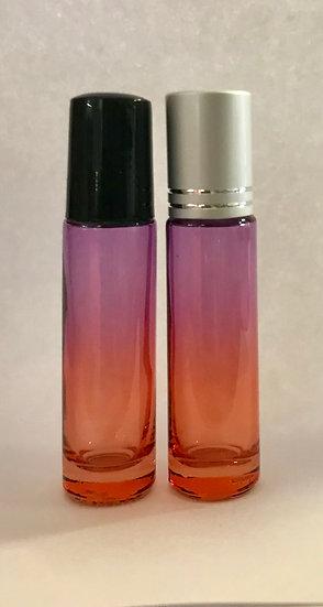 1 Ct 10ml  Purple / Orange  Fade Roller Bottle w/  Lid  ---  (10 ml)