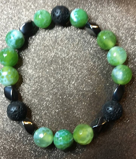 Green fire agate, hematite and lava stone stretch bracelet