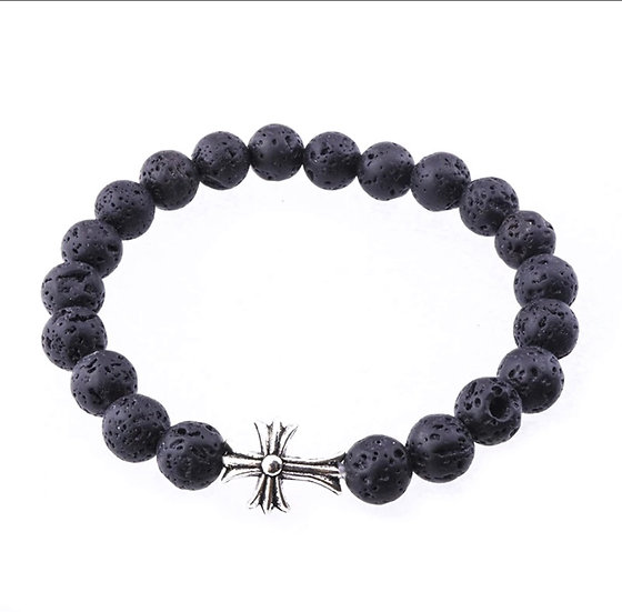 Lava Stone bracelet w/ Decorative Cross - Gorgeous !