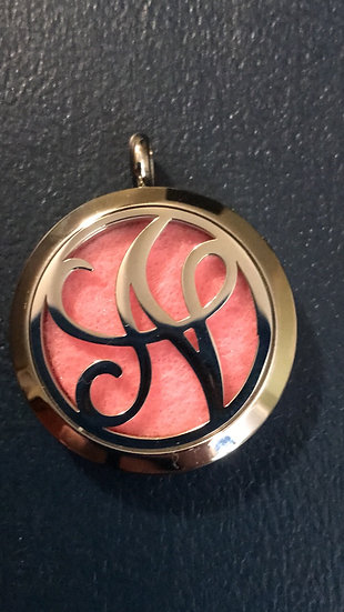 N - Initial Monogram ~ 30mm Stainless Steel Locket Diffuser - chain incl