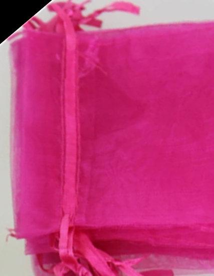 100 ct MAGENTA  Organza Bags  -- 5 x 7