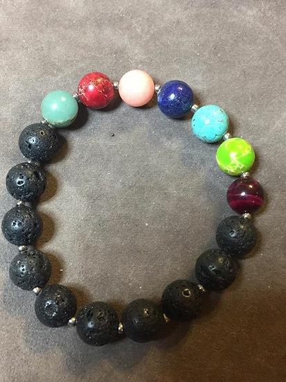 Rainbow and Lava Stone stretch Bracelet