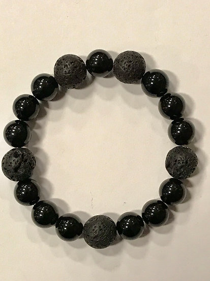 Black Tourmaline and Lava Bead  Bracelet