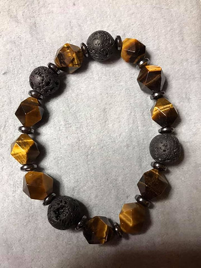 Faceted Tiger Eye, Hematite and Lava Stone Bead Diffuser Bracelet