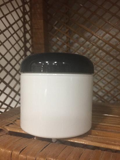 4 oz Dbl Wall Plastic MP Jar White w/ Blk Dome Lid