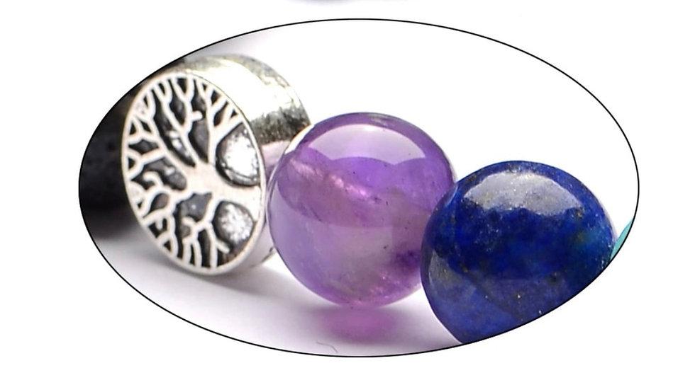 Multi Color Chakras Lava Stone bracelet with Tree of Life