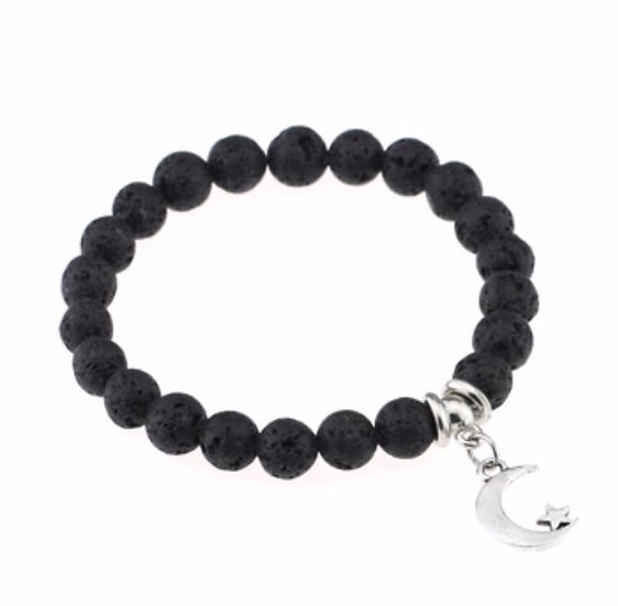 Lava Stone Diffuser Bracelet Moon and Star