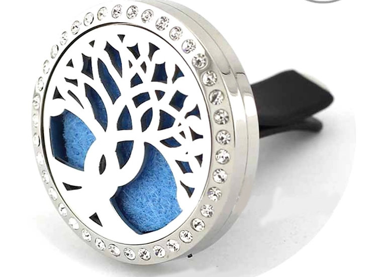 Curvy TREE OF LIFE #3 (Crystals) Stainless Steel Car Vent Diffuser (30) mm)