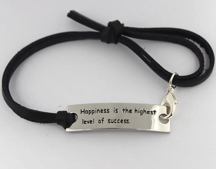 Happiness is the highest level of success leather Bracelet