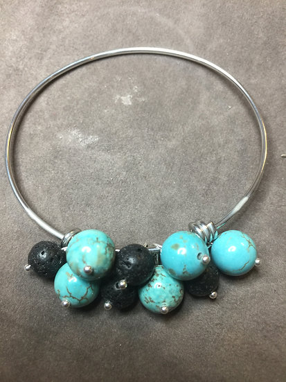 Turquoise and Lava Bead Bangle Diffuser Bracelet