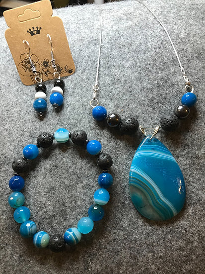 Blue Agate Trio with diffuser beads