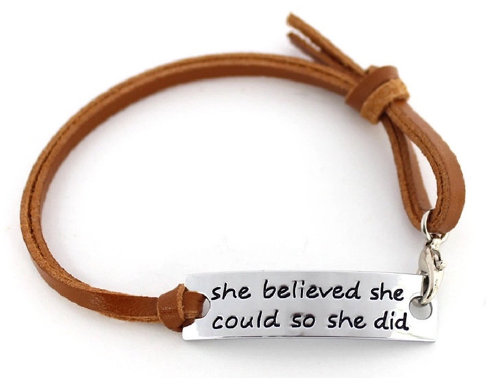 She Believed She Could - Diffuser Bracelet - Brown