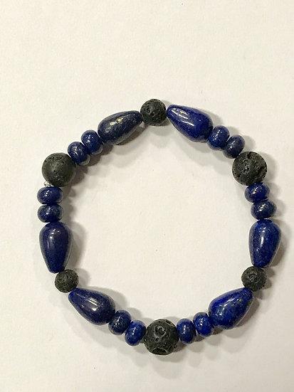 SMALL Lazuli Lapis and Lava Bead  Bracelet