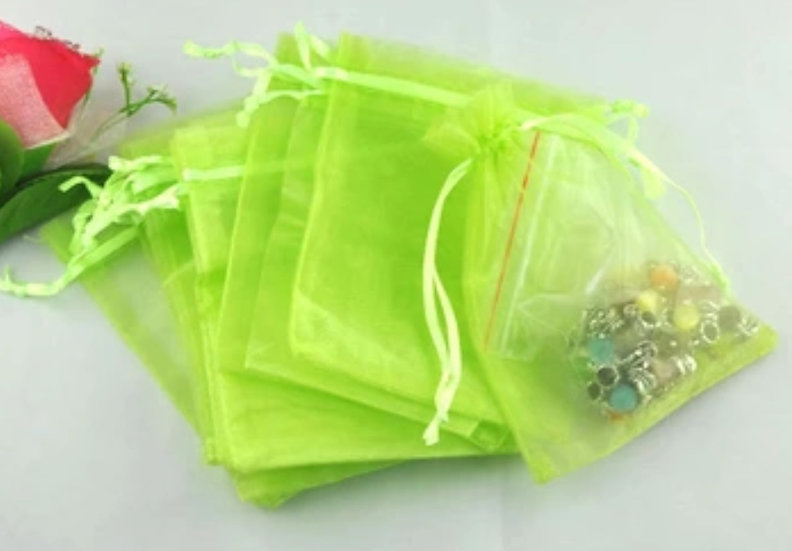 "100 ct Lime Green Organza Bags ~ 3-1/2"" x 4-3/4"""