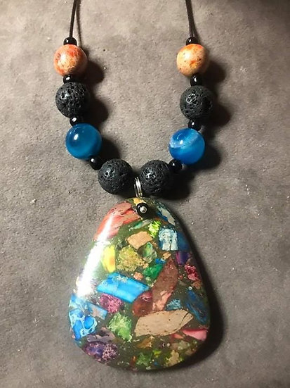 Rainbow sea sediment & Lava Stone Pendant (65)
