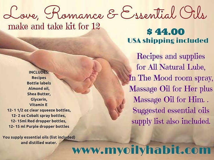 Love, Romance, and Essential Oils (15 ml) - Make n Take Kit for 12