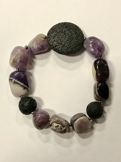 Chunky Amethyst and Lava Bead  Bracelet