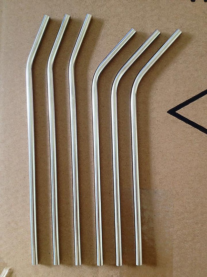 10 count  304 Food Grade Stainless Steel Straw - Slight Bend