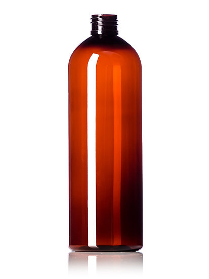 16 oz Amber PET Plastic Bottle including CLOSURE of your CHOICE
