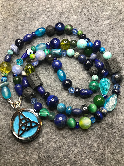 Green / Blue Fully Beaded Diffuser Necklace w/ Stainless Locket