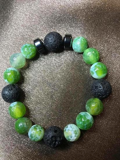 Green Fire Agate & Hematite bracelet