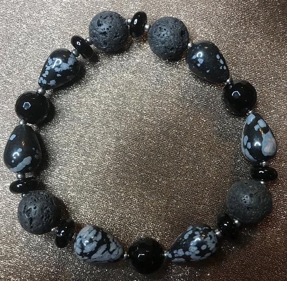 Snowflake Obsidian, Black Tourmaline & lava stone stretch bracelet