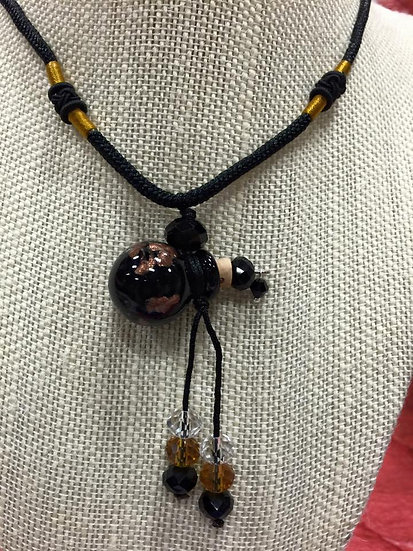 Black Murano Glass Diffuser Necklace # NCB4