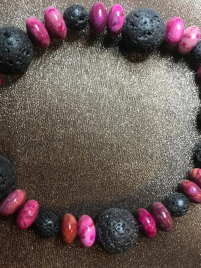 Magenta Crazy Lace Agate & Lava Stone stretch Bracelet