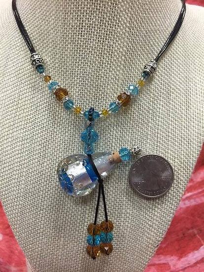 Aqua Blue Gourd Murano Glass Necklace #ABG1
