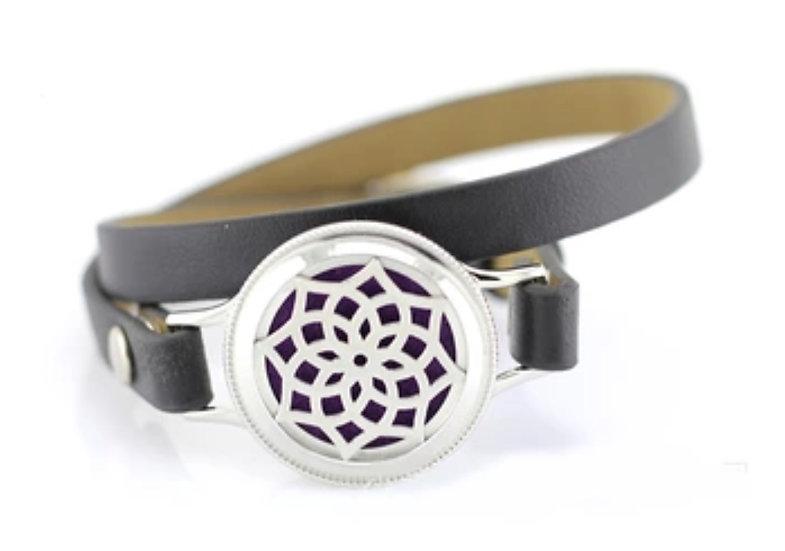 Kaleidoscope 25mm Diffuser Bracelet ~ Black Leather Watch Style